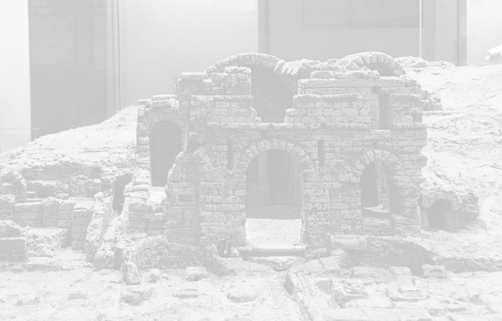 arrière plan en noir et blanc - maquette dans la salle du legs de l'antiquité