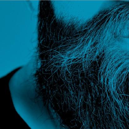 détail de la barbe d'un homme - fragment bleu de la mosaïque