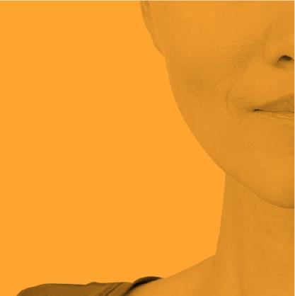 détail d'un visage de femme - fragment jaune de la mosaïque