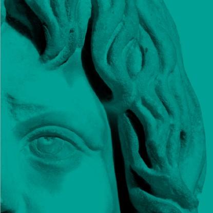 détail de l'oeil et des cheveux d'une statue - fragment vert de la mosaïque