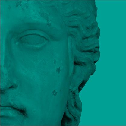 détail d'un visage de statue - fragment vert de la mosaïque