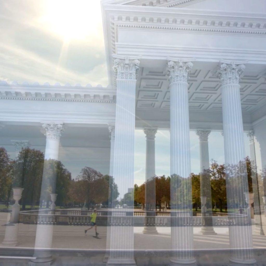 projection en 3D au temps présent des édifices présents à Nîmes dans l'antiquité