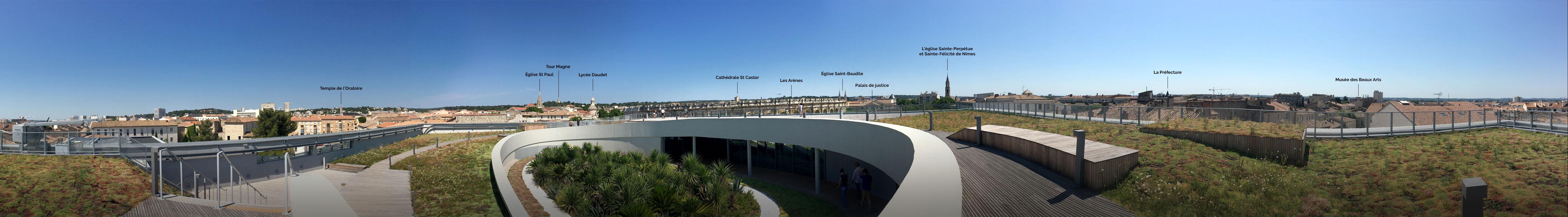 vue panoramique de Nîmes et ses environs depuis le toit terrasse du Musée de la Romanité