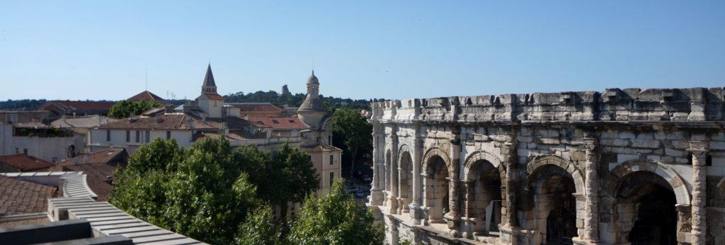 vue des arènes de Nîmes depuis le rooftop