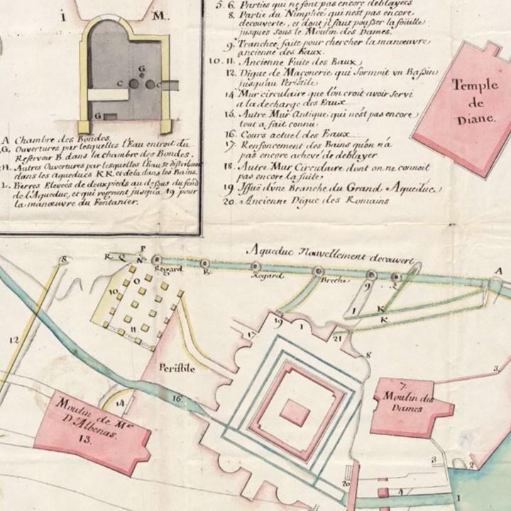 détail d'un ancien plan de la ville de Nîmes